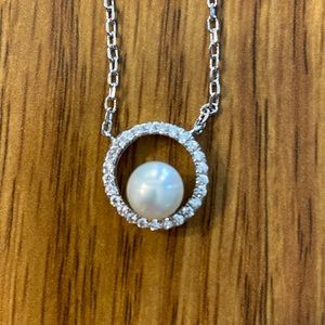 New Pearl and CZ necklace with silver chain